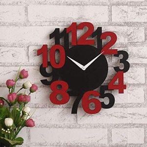 ide laser cutting jam dinding kayu merah hitam